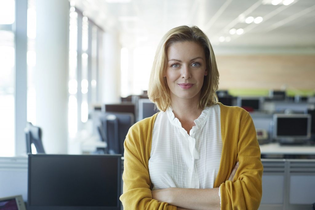 Woman with good self-esteem after psychotherapy