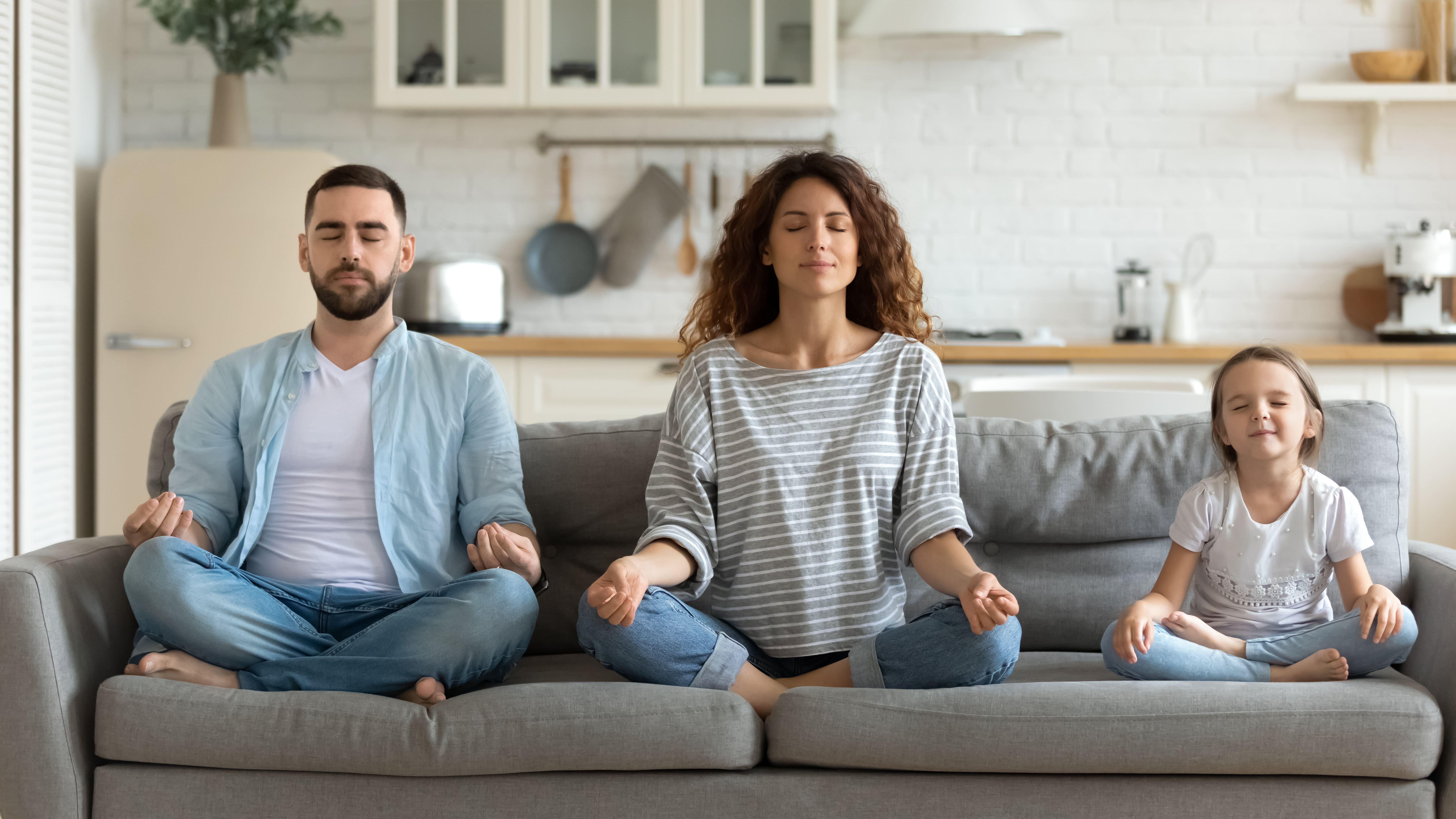 A family cultivating mindfulness to improve acceptance while being present
